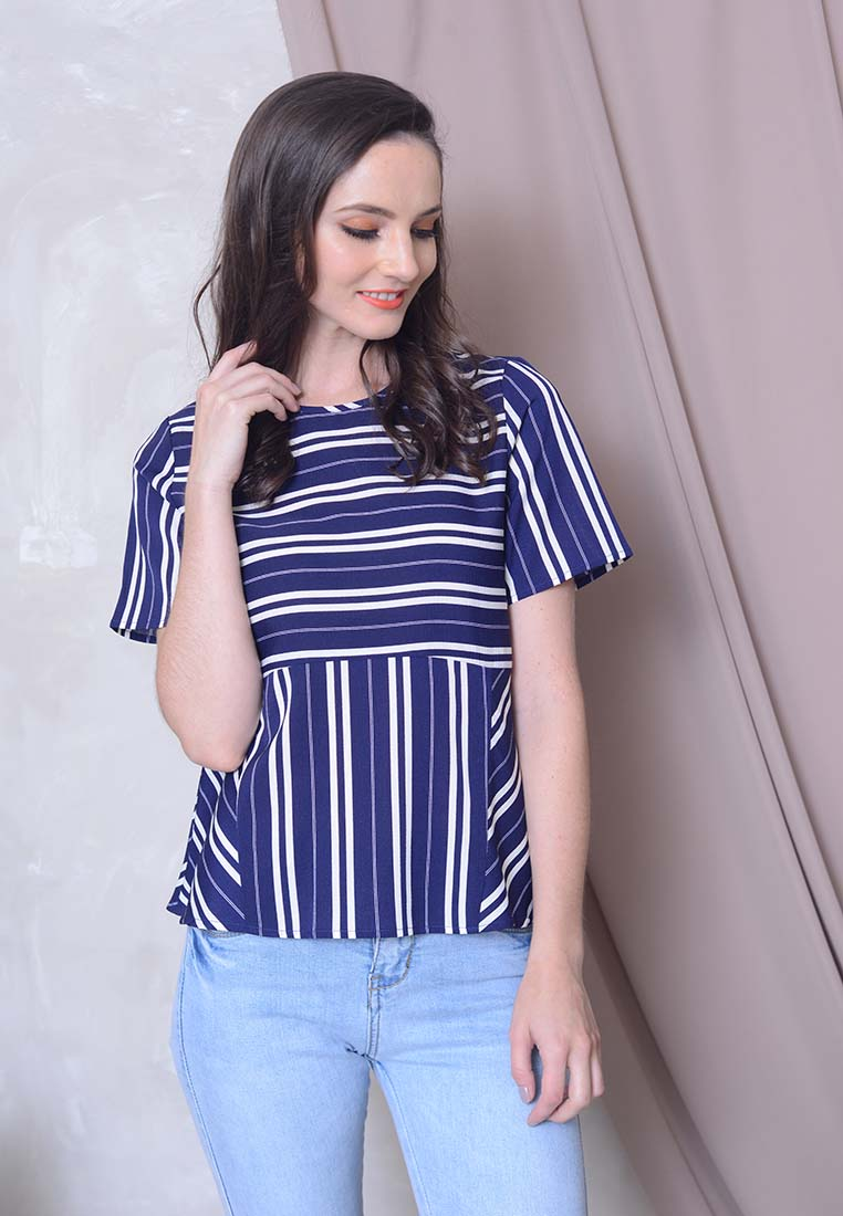 Casual – Stripes Top in Navy