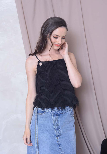 Casual – Eyelet Crop Top in Black