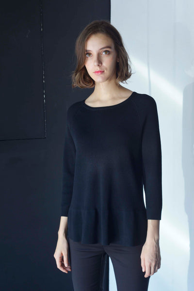 KNIT-Valda Top in Black