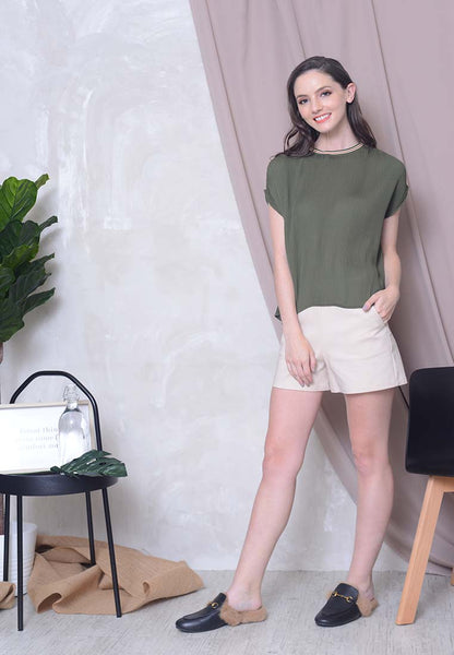 Casual – Pleated Rib Top in Green