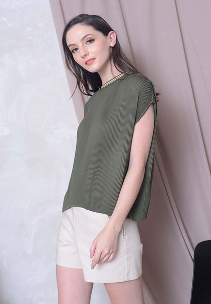[BUY]Casual – Pleated Rib Top in Green