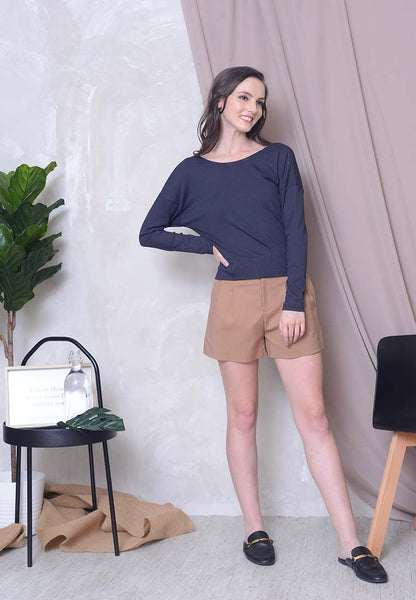 [FREE]Casual – 2 Ways Style Knit Top in Blue