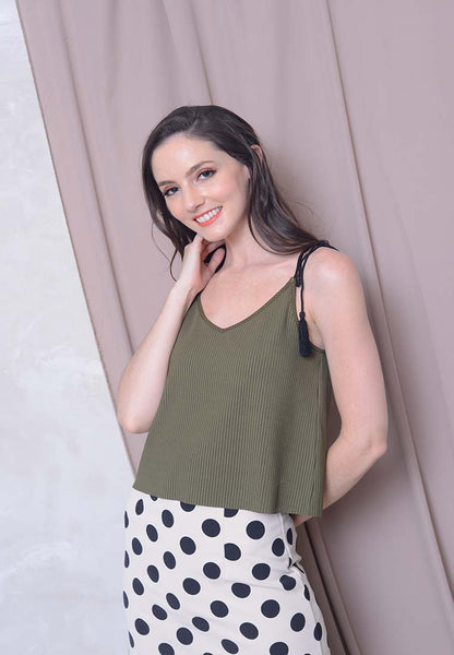 Casual – Tassel Camisole Top in Army Green