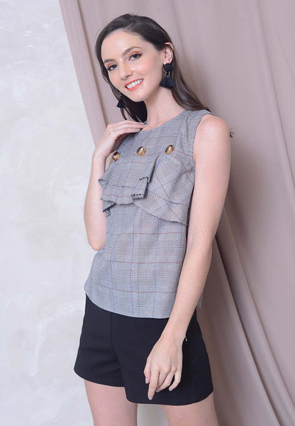 Collections - Houndstooth Sleeveless Blouse in Black