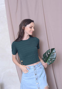 Casual – Button Knit Crop Top in Green