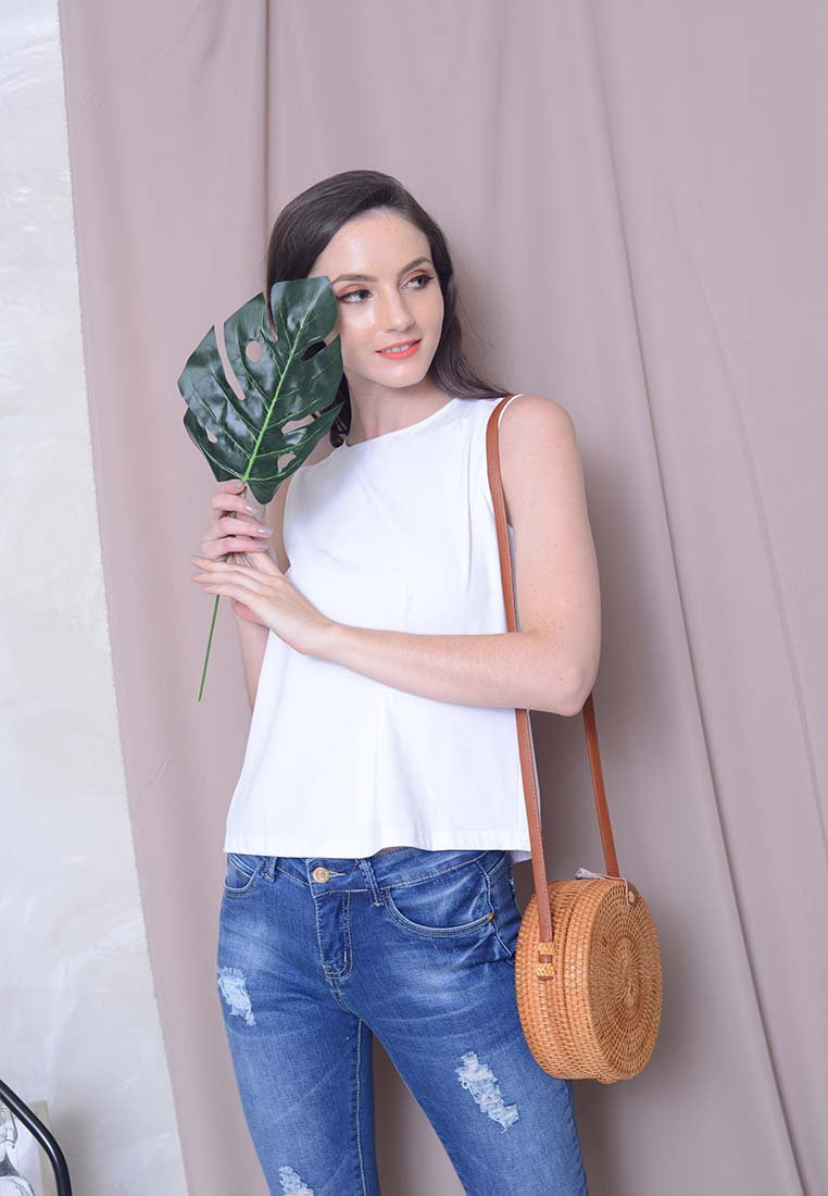 [FREE]Casual – Ribbon Tie Tank Top tee in White