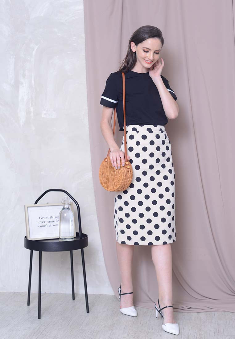 Polka Dot Skirt in Beige