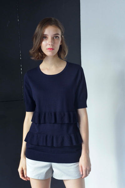 KNIT-Drika Top in Navy