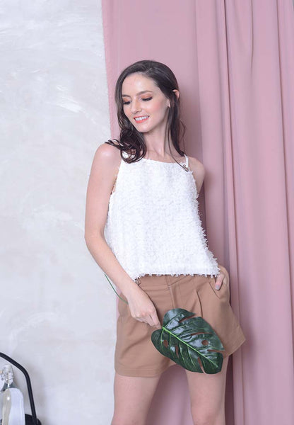 Casual – Eyelet Crop Top in White