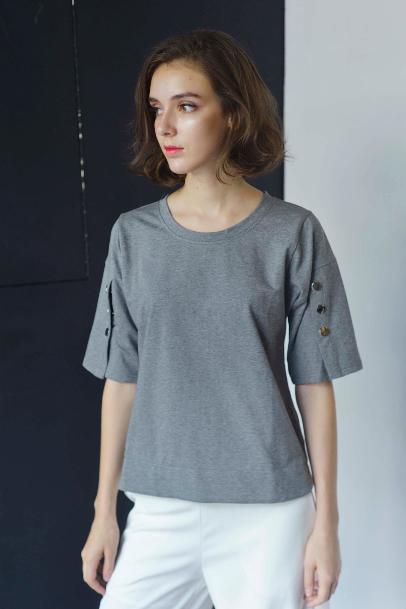 BASICS-Kaila Top in Grey