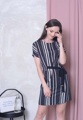 Casual – 2 Sided Printed Dress in Black