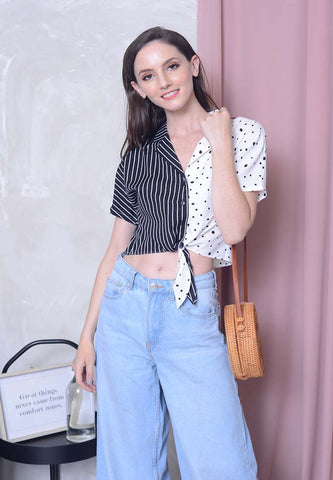Casual – Polka Dot Crop Top in White