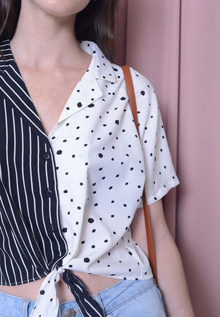 [BUY]Casual – Polka Dot Crop Top in White