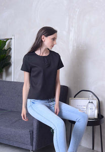 [BUY]Casual – Button with Zipper Top in Black