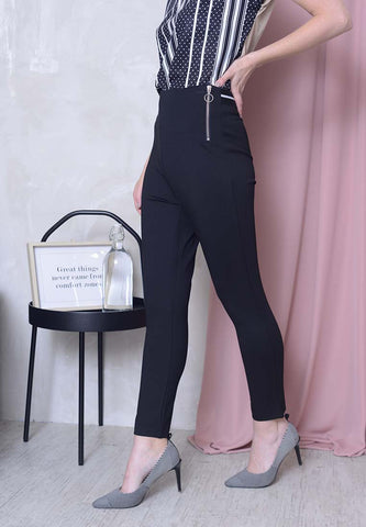 Casual – Sporty Zipper Jeggings in Black