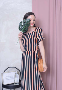 Casual – Stripes Print Midi Dress in Black