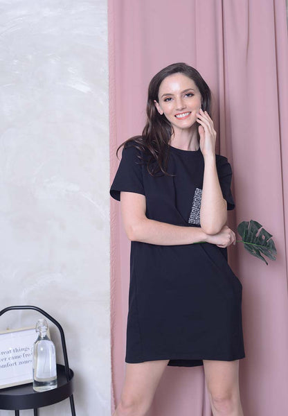 Casual – Twill Pocket Dress in Black