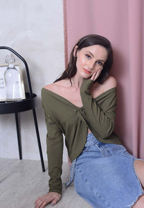 [FREE]Casual – 2 Ways Style Knit Top in Green