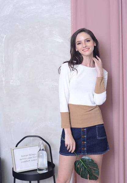 [FREE]Casual – 2-Tone Knit Top in White