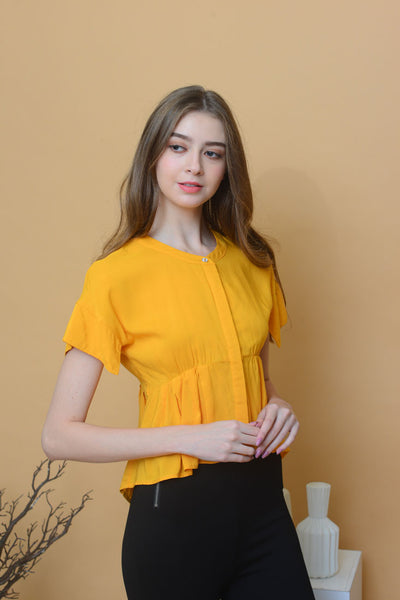 Casual – Mandarin Collar Flare Top in Mustard