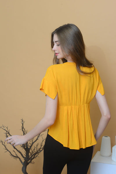 【9】Casual – Mandarin Collar Flare Top in Mustard