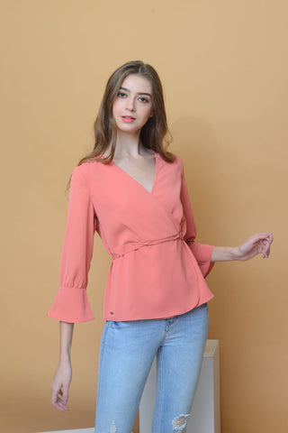 Casual – V Neck Blouse in Orange
