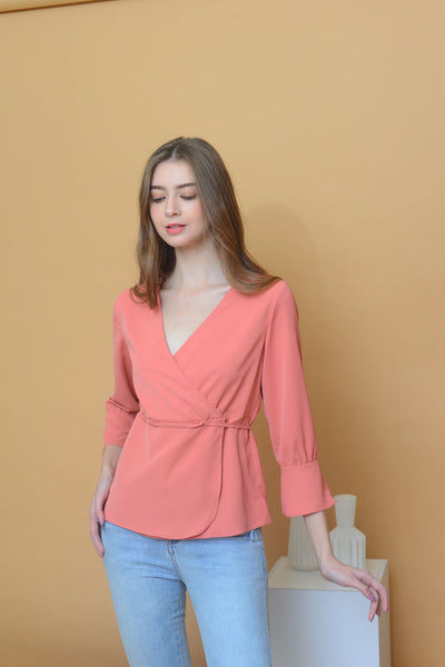 [BUY]Casual – V Neck Blouse in Orange