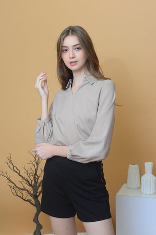 [BUY]Casual – Collar V Neck Top in Khaki