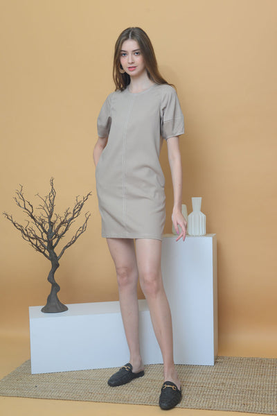 [BUY]Casual – Contrast Stitches Dress in Khaki