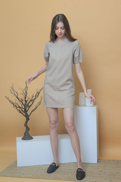 Casual – Contrast Stitches Dress in Khaki