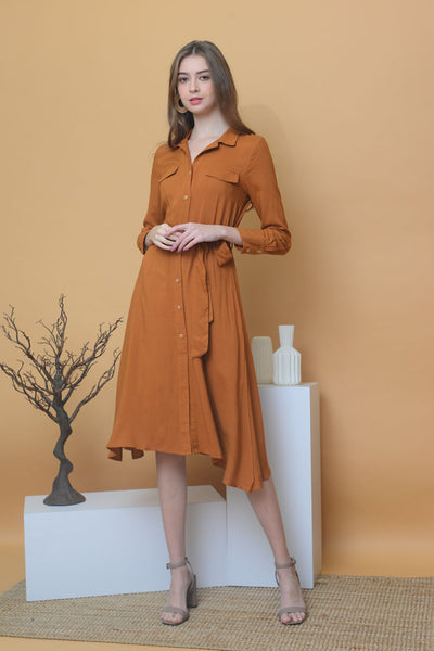 [BUY]Collection – Linen Midi Dress in Brown