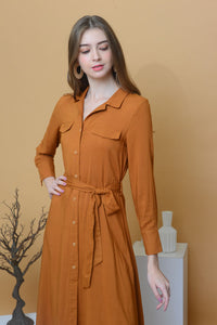 Collection – Linen Midi Dress in Brown