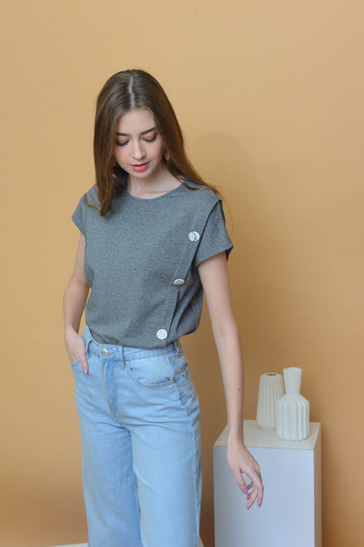 Casual - Irregular Button Tee in Grey
