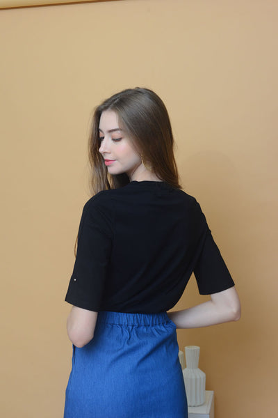 [BUY]Casual-Wide Sleeve Tee in Black
