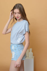 Casual - Joeyl Logo Tee in Grey