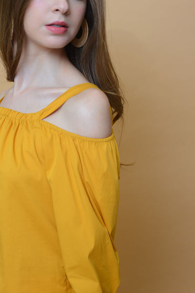 Casual – Button Cuff Top in Mustard