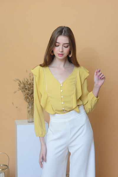 Casual – Chiffon Ruffled Top in Yellow