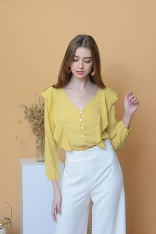 [BUY]Casual – Chiffon Ruffled Top in Yellow