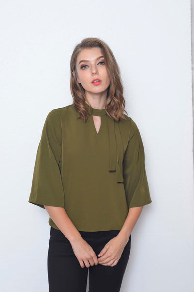 Basics-Belle Top in Army Green