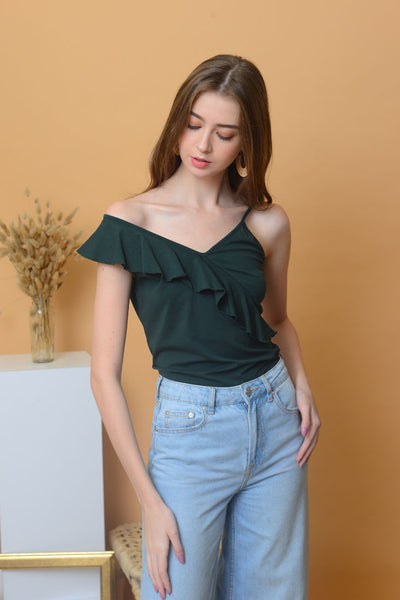 Casual - Ruffle Tee in Green