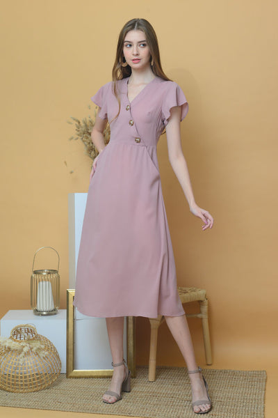 [BUY] Casual – Slant Button Dress in Pink