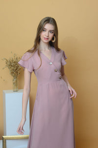 [BUY]Casual – Slant Button Dress in Pink