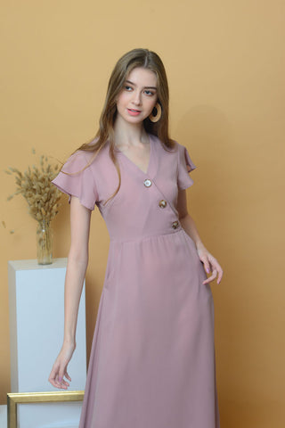 Casual – Slant Button Dress in Pink