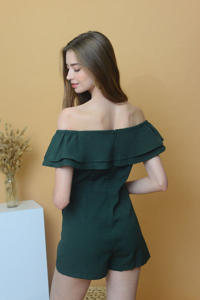 Collection – Off Shoulder Jumpsuit in Green