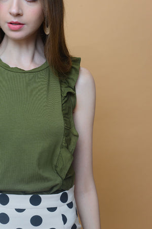 Casual - Basic Ruffle Tee in Light Green