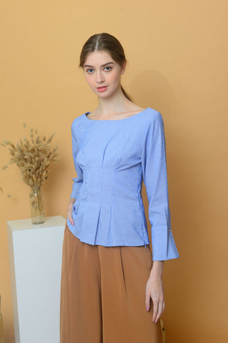 [BUY]Casual – Wide Shoulder Peplum Top in Blue
