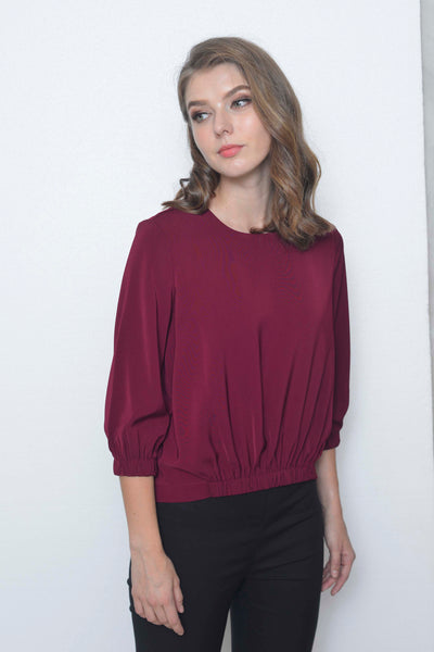 Basics-Deryn Top in Maroon