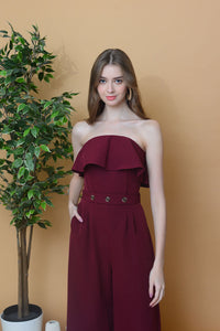 Collection – Off Shoulder Maxi Jumpsuit in Maroon