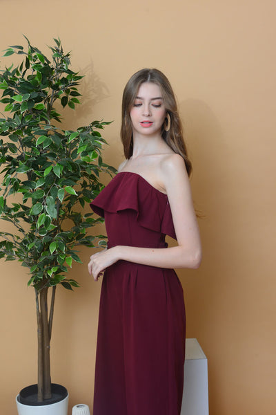 [BUY]Collection – Off Shoulder Maxi Jumpsuit in Maroon