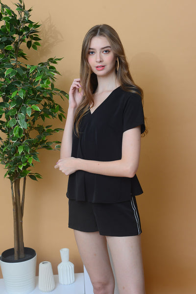 [BUY]Collection – V Neck Peplum Jumpsuit in Black